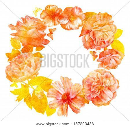 Floral wreath with hand drawn watercolor flowers, roses, peonies, camellias, butterflies and leaves. Vintage style botanical art, isolated on white background, with place for text, golden toned