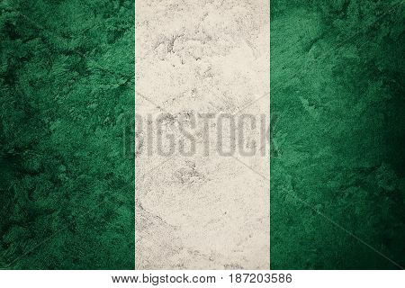Grunge Nigeria Flag. Nigeria Flag With Grunge Texture.