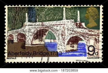 UNITED KINGDOM - CIRCA 1968: A stamp printed in Great Britain shows Aberfeldy Bridge, crosses the River Tay in Scotland, built in 1733, series bridges, circa 1968