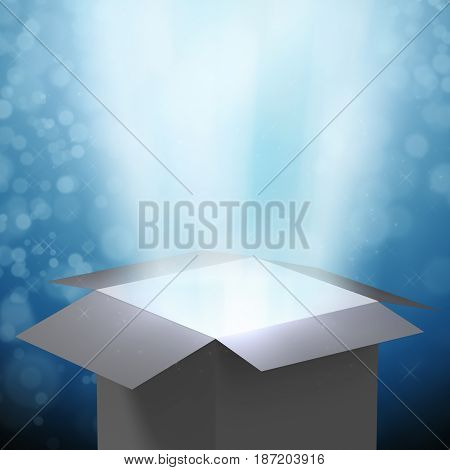 3d rendering magic box with ray light