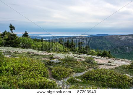 Wide angle landscape in Acadia national park