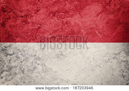 Grunge Monaco Flag. Monaco Flag With Grunge Texture.