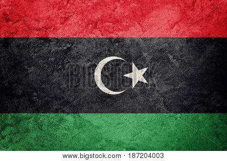 Grunge Libya flag. Libyan flag with grunge texture.