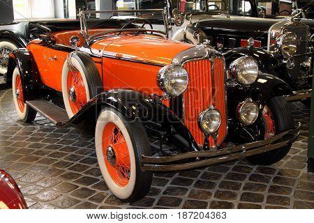 KRASNOGORSK RUSSIA-FEBRUARY 23 2016: Coupe CHRYSLER CM6 in the Museum of technology Zadorozhnogo. Krasnogorsk Moscow region.