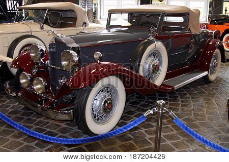 KRASNOGORSK RUSSIA-FEBRUARY 23 2016: Motorcar Packard De Luxe 8 Cupe in the Museum of technology Zadorozhnogo. Krasnogorsk Moscow region.