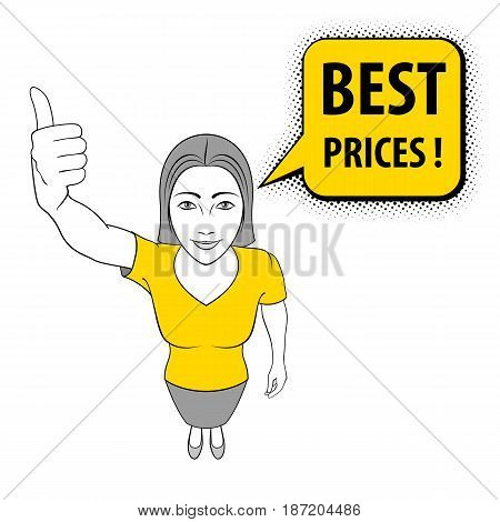 Cartoon Illustration of a Young Woman Giving a Thumbs Up. Best Prices