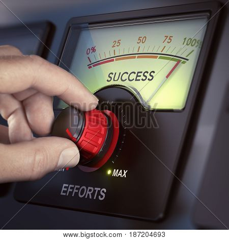 Hand turning an effort knob to the maximum for achieving success. Motivation concept. Composite image between a hand photography and a 3D background.