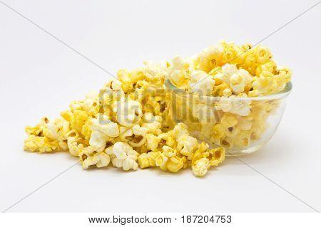 Sweet caramel pop corn on white background Isolated food background