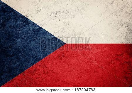 Grunge Czech Republic Flag. Czech Republic Flag With Grunge Texture.