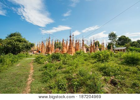 The group of ancient pagoda named Shwe Indein pagoda in Indein village of Inle lake, Shan state of Myanmar.