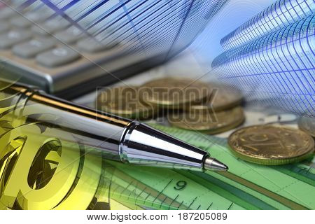 Business background with pen coins mail signs and buildings.