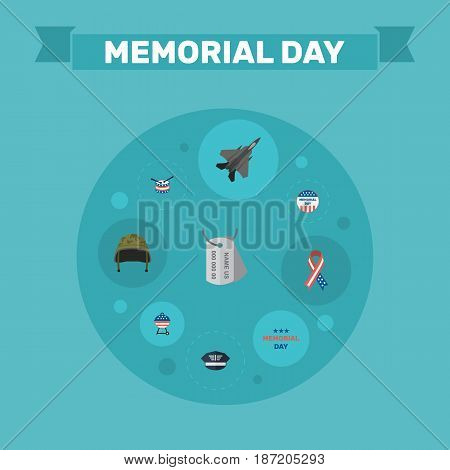 Flat Barbecue, Holiday, Usa Badge And Other Vector Elements. Set Of Memorial Flat Symbols Also Includes Awareness, Tag, Day Objects.