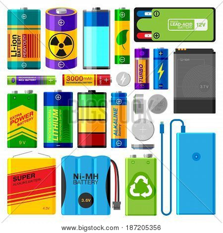 Battery electricity charge technology and accumulator alkaline powered energy elements vector illustration. Different toy and human tools power supply