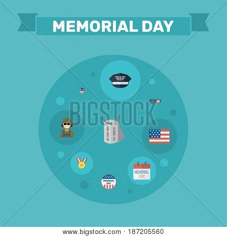 Flat History, Medallion, Hat And Other Vector Elements. Set Of Memorial Flat Symbols Also Includes Army, Medallion, Banner Objects.
