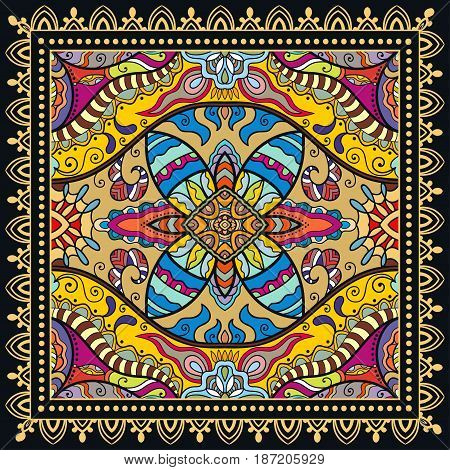 Decorative abstract colorful background, geometric floral doodle pattern with ornate lace frame. Tribal ethnic ornament. Bandanna shawl, tablecloth fabric print, silk neck scarf, kerchief design