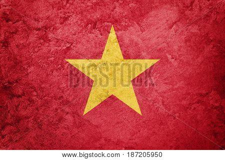 Grunge Vietnam Flag. Vietnam Flag With Grunge Texture.