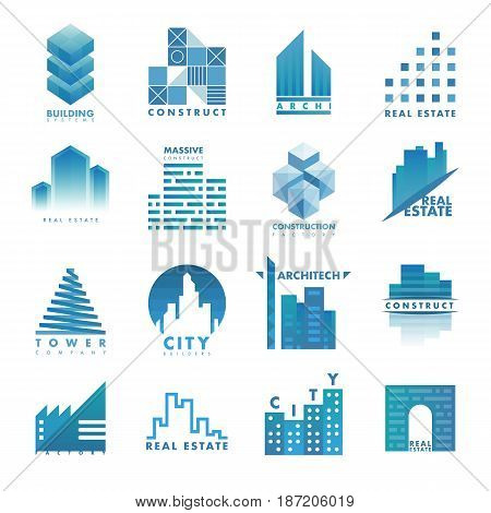 Architecture building skyscraper construction builder developer agency logo badge real estate company design vector illustration. Abstract creative corporate city house shape.
