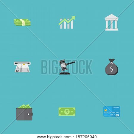 Flat Finance Sack, Cash Stack, Bank And Other Vector Elements. Set Of Finance Flat Symbols Also Includes Money, Chart, Billfold Objects.