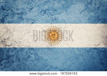 Grunge Argentina Flag. Argentina Flag With Grunge Texture.