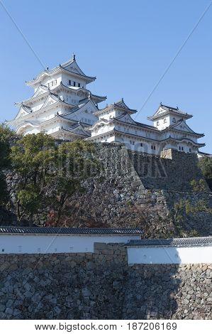 Himeji castle Kansai Japan historical landmark with blue sky background