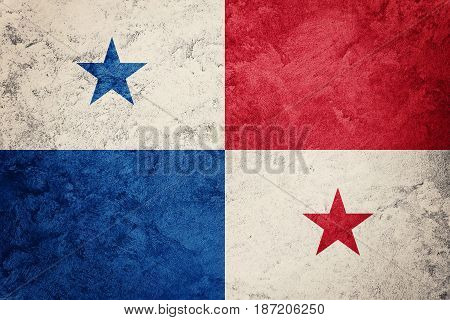 Grunge Panama Flag. Panama Flag With Grunge Texture.