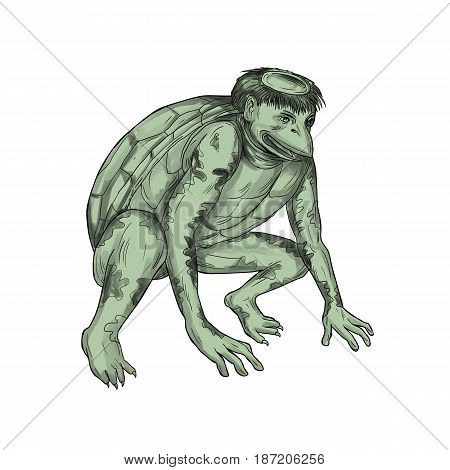 Tattoo style illustration of a kappa kawataro komahiki or kawatora a yokai demon or imp found in traditional Japanese folklore that is humanoid turtle crouching set on isolated white background.