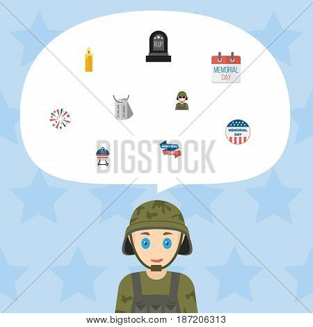 Flat Ribbon, Barbecue, Identity And Other Vector Elements. Set Of History Flat Symbols Also Includes Tag, Calendar, Army Objects.