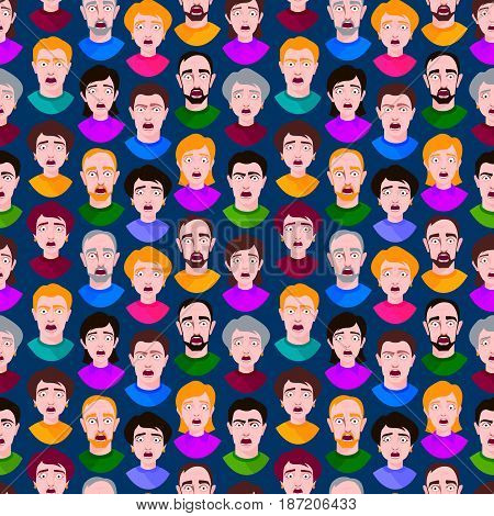 Extremely surprised young people shock seamless pattern portrait and frightened face emotions afraid expression person with open mouth vector illustration.