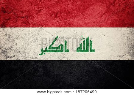 Grunge Iraq Flag. Iraq Flag With Grunge Texture.