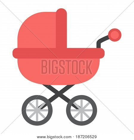 Baby bib flat icon, pram and pushchair, vector graphics, a colorful solid pattern on a white background, eps 10.