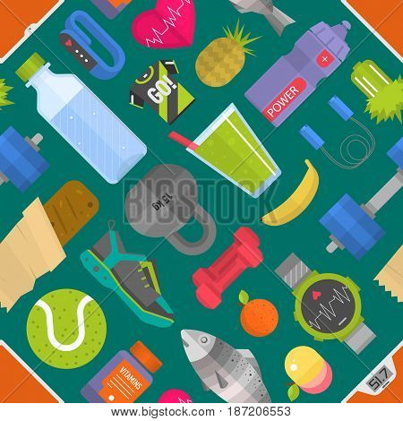 Seamless pattern composed from icons representing healthy lifestyle sport background vector illustration. Sneakers fitness food exercise gym style