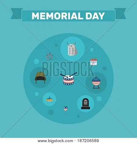 Flat History, Tomb, Memorial Day And Other Vector Elements. Set Of Memorial Flat Symbols Also Includes Drum, Grave, Decoration Objects.