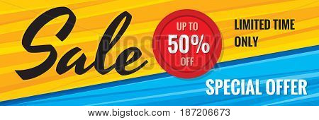 Sale discount up to 50% off - creative horizontal banner vector illustration. Special offer abstract advertising promotion concept layout. Graphic design elements.