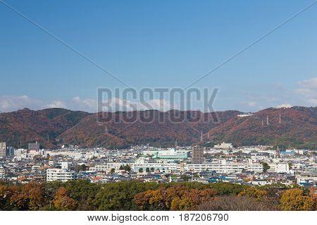 Autumn season residence area with mountain background Kansai Japand