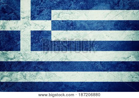 Grunge Greece Flag. Greece Flag With Grunge Texture.