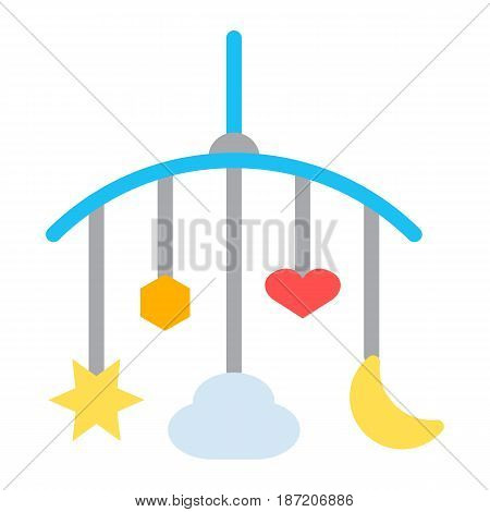 Hanging toys flat icon, baby crib toys, vector graphics, a colorful solid pattern on a white background, eps 10.