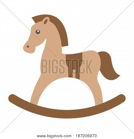 Rocking horse flat icon, wooden toy, vector graphics, a colorful solid pattern on a white background, eps 10.