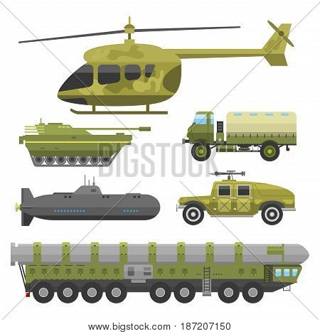 Military technic army war tanks and industry technic armor defense vector collection. Transportation weapon technic exhibition international fighting conflict weaponry tracks.