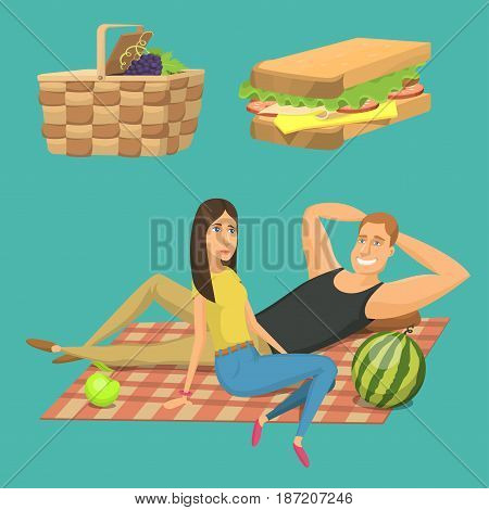 Picnic setting with red wine glasses picnic hamper basket. Barbecue resting couple and icons. Summer meal party family people. Lunch garden character vector illustration.