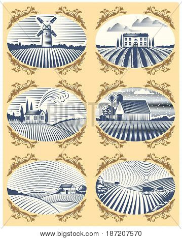 Retro landscapes vector illustration farm house field agriculture graphic countryside. Grunge farmhouse outdoor road season scene horizon organic scenic antique drawing.