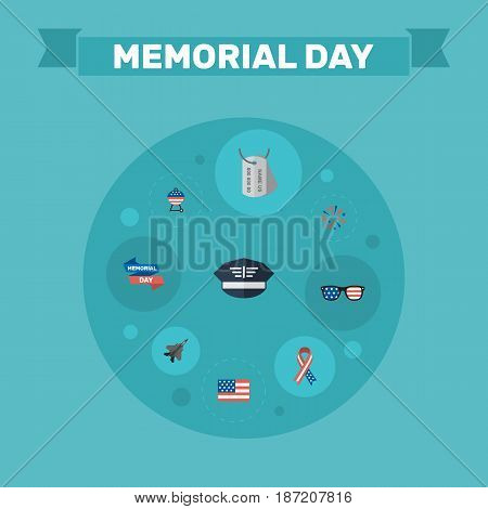Flat American Banner, Spectacles, Barbecue And Other Vector Elements. Set Of Memorial Flat Symbols Also Includes Glasses, Army, Usa Objects.
