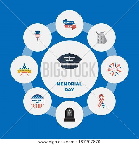 Flat Usa Badge, Awareness, Decoration And Other Vector Elements. Set Of Day Flat Symbols Also Includes Sparklers, Awareness, Balloon Objects.