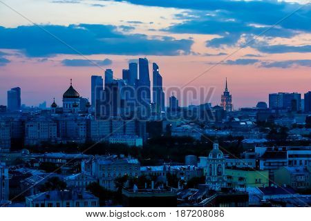Evening Moscow Panorama. In The Background, The Complex