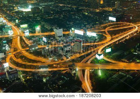 City highway aerial night view long exposure Bangkok Thailand