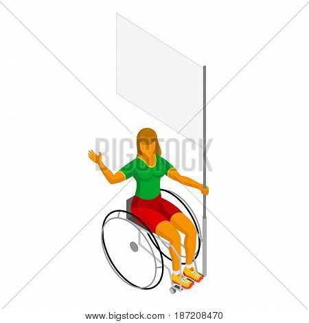 Physically disabled female flag bearer with blank standard. 3D wheelchair athlete with empty banner isolated on white background. Isometric vector icon.