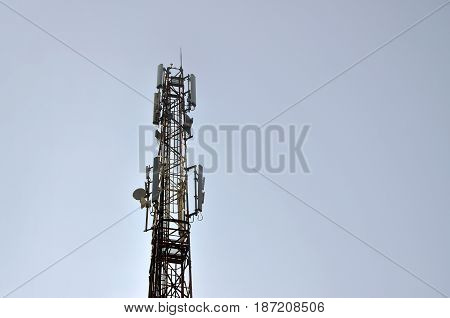 High Tower For Transmitting Radio Waves And Receiving A Wireless Signal. A Post For Providing Wirele
