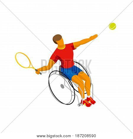 Physically disabled tennis player isolated on white background. Wheelchair tennis - sport infographics clip art. Isometric 3d vector athlete.