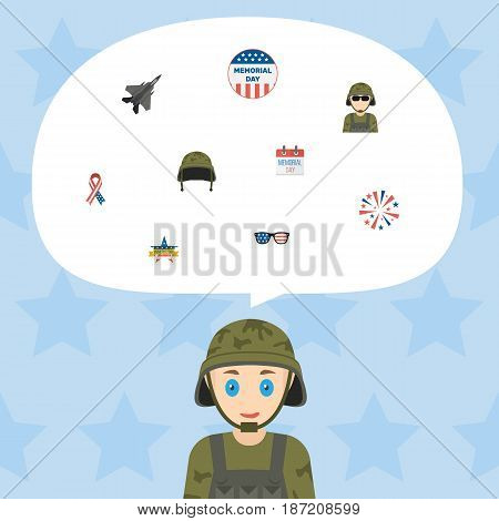 Flat History, Soldier Helmet, Firecracker And Other Vector Elements. Set Of Day Flat Symbols Also Includes Usa, Soldier, Awareness Objects.