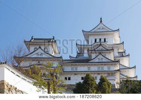 Himeji castle Kansai Japan with clear blue sky background Japan landmark