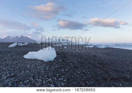 Ice on black rock beach form iceberg skyline in winter season Iceland natural landscape background